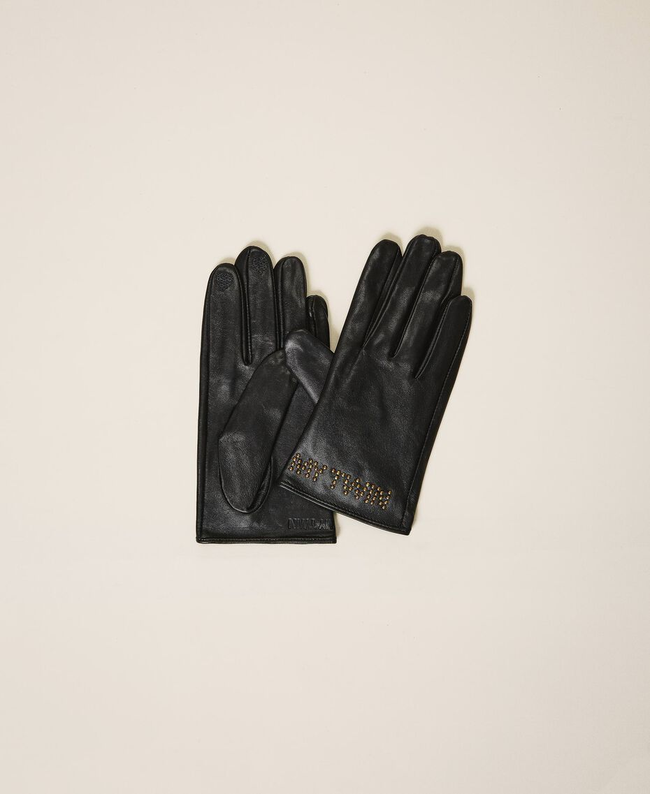 Leather gloves with logo Black Woman 202MA4301-01