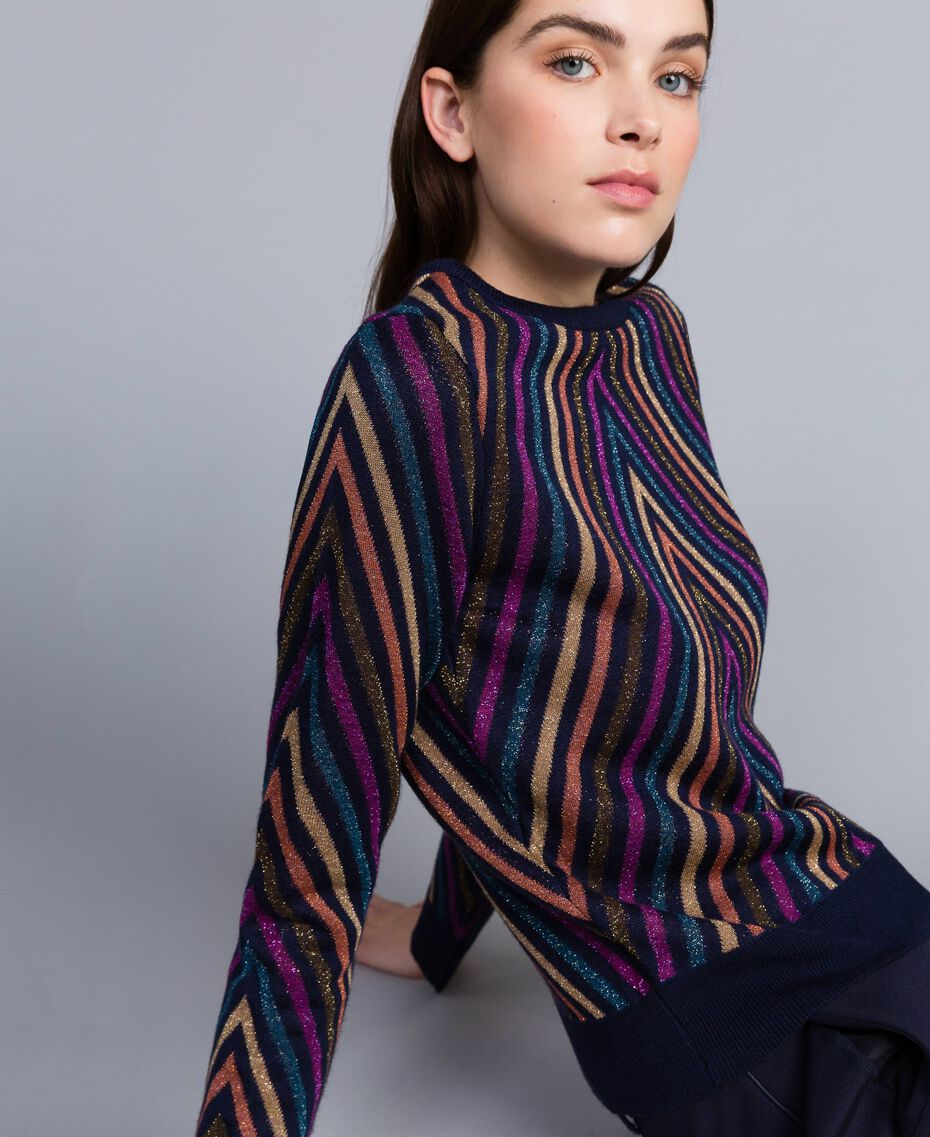 Pullover aus Lurexjacquard mit mehrfarbigem Streifenmuster Jacquard Blau / Lurexstreifen Frau TA838C-02
