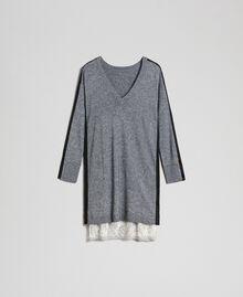 Robe avec bandes en lurex et fond de robe Gris moyen chiné Femme 192MP3100-0S