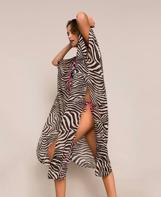 Animal print georgette kaftan Black Zebra Print Woman 201LB2GFF-03