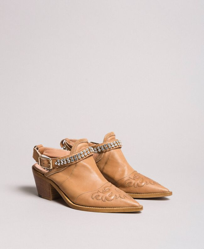 Texan leather sabot shoes with rhinestones Nougat Beige Woman 191TCT09L-01