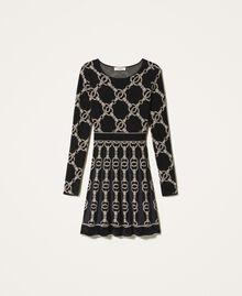 Robe en maille jacquard avec motif de chaînes Jacquard Chaîne Noir Femme 202TT3161-0S