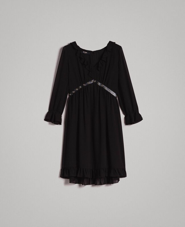 Georgette dress with frills Black Woman 191MP2391-0S