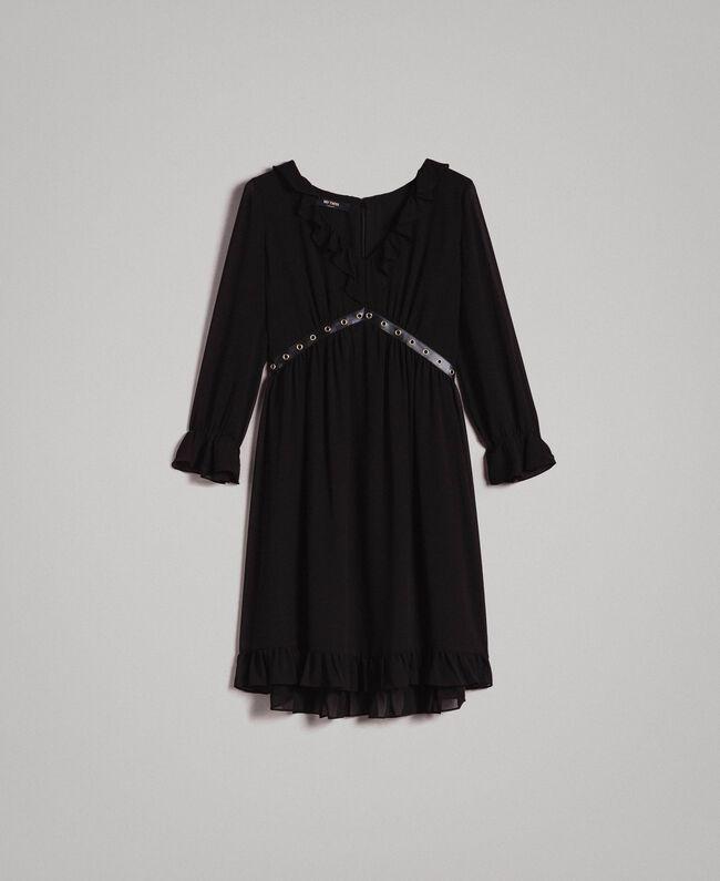 Robe en georgette à froufrous Noir Femme 191MP2391-0S
