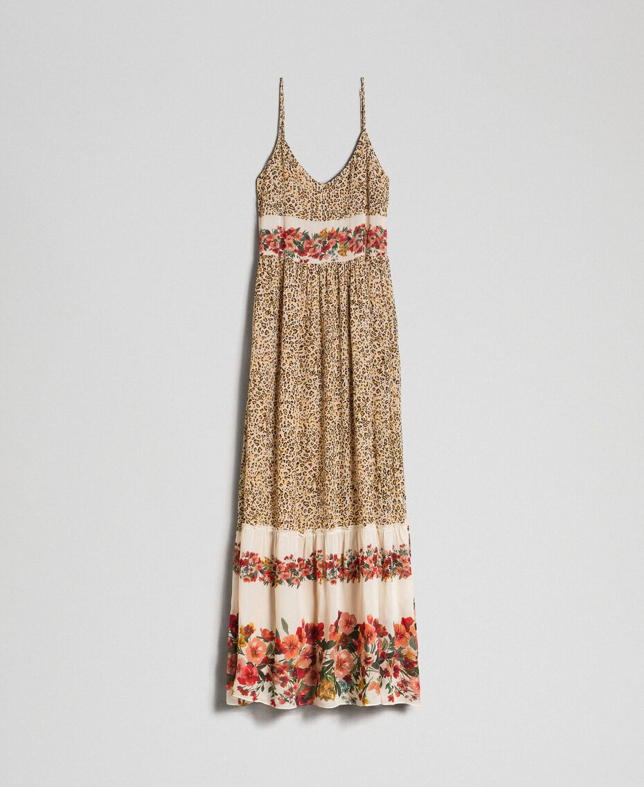Long dress with animal and floral print Leopard Print Woman 192TP2743-0S