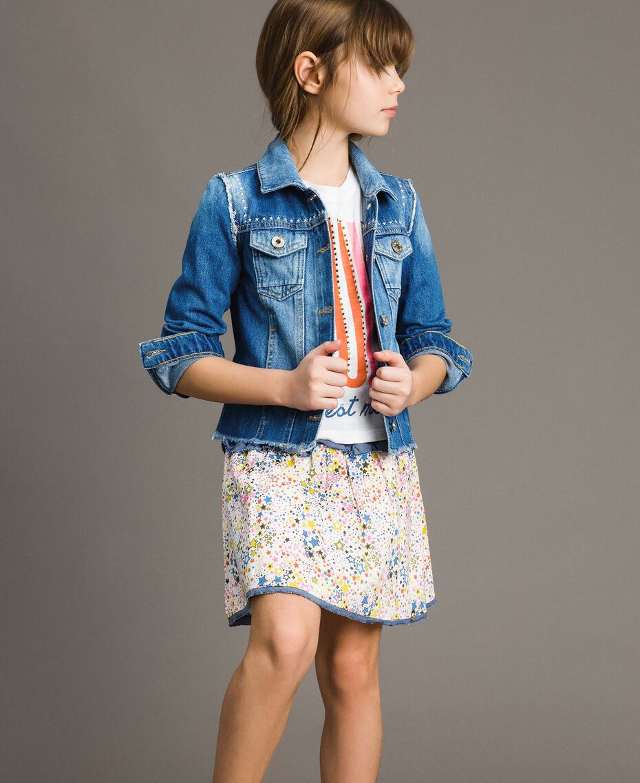 Jersey T-shirt and chambray details White Child 191GJ2650-0T