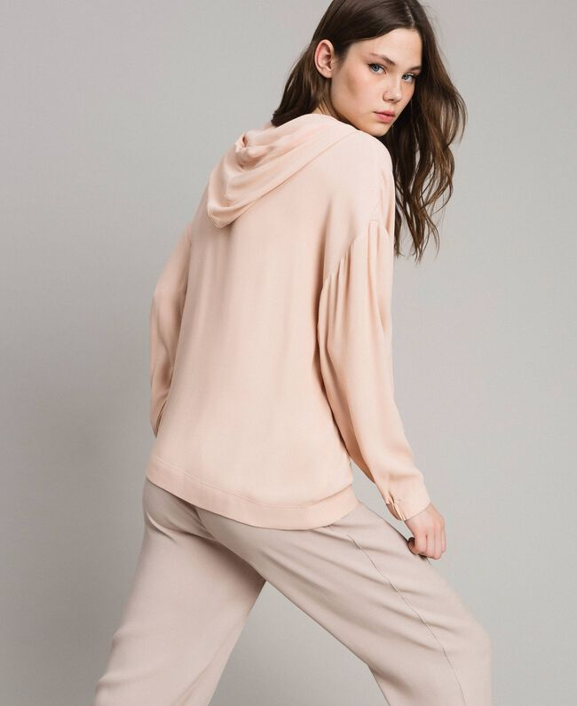 Crêpe sweatshirt with maxi pocket Delicate Pink Woman 191LL23AA-03