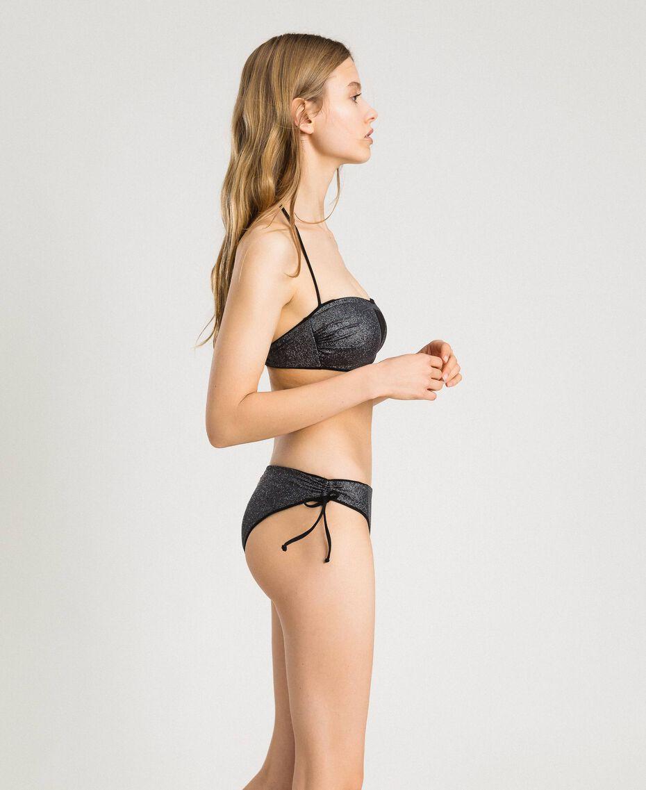 Bikinihose mit Tunnelzug an den Seiten Schwarz Frau 191LBM399-02