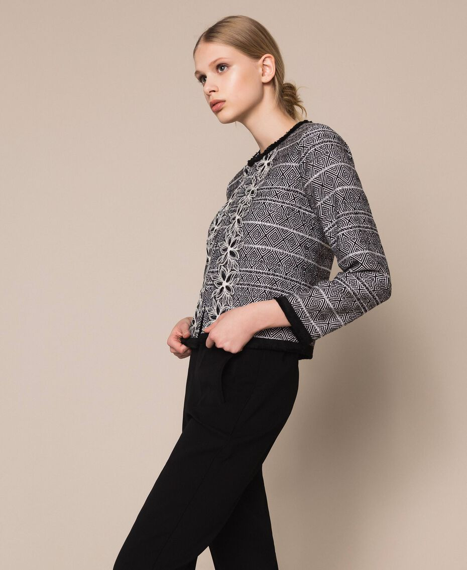 Tweed jacket with embroidery Black Woman 201LB23AA-02