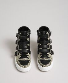 High top trainers with straps and animal print inlays Black Woman 192TCT080-05