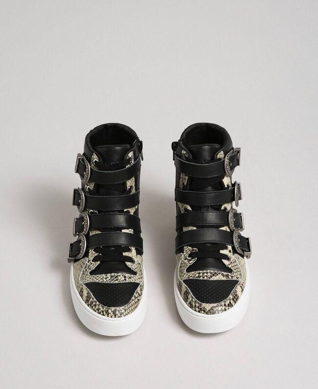 Sneakers alte con cinturini e inserti animalier Nero Donna 192TCT080-05