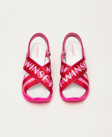 "Trainer sandals with logo bands Two-tone ""Geranium"" Red / ""Jazz"" Pink Woman 201TCT094-05"