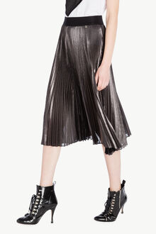 Jupe plissée Noir «Canon de Fusil» Métallisé Femme PS82QN-02
