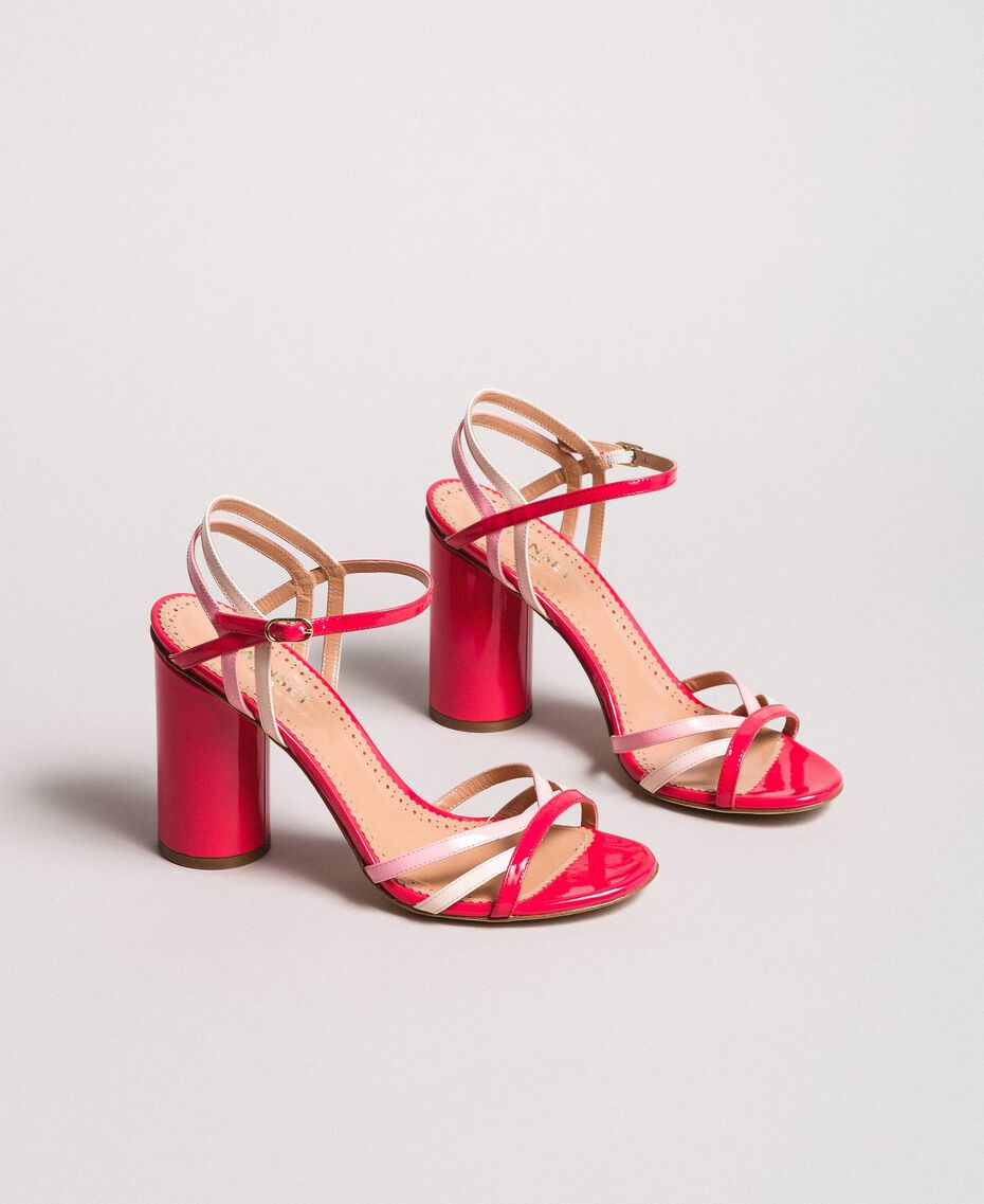 Patent leather sandals with strap Bud Pink Woman 191TCP014-02