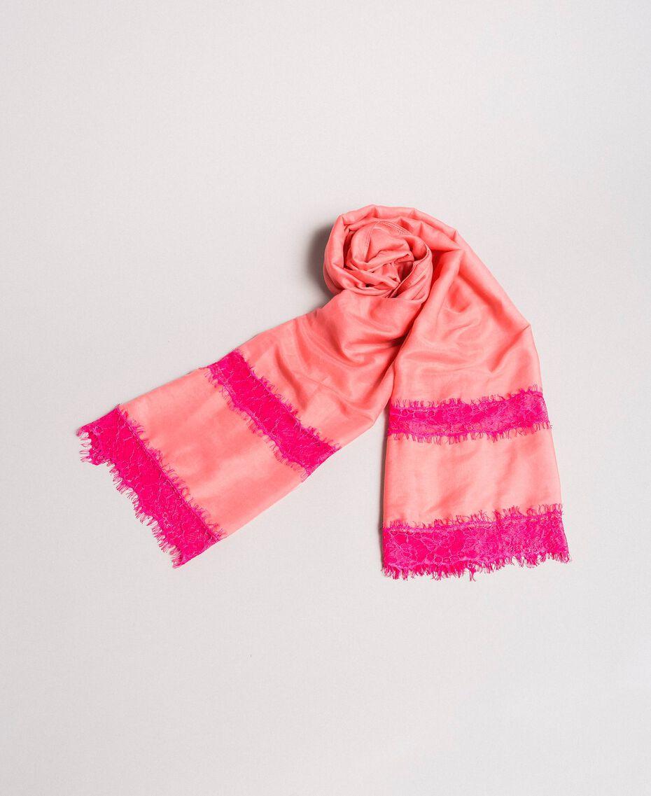 """Écharpe en coton ornée de dentelle Bicolore rose """"Églantine"""" / Rose Fluorescent Femme 191TA4364-01"""