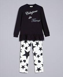 """Pyjama aus Jersey mit Sternen und Herzen Zweifarbig Schwarz / Print """"Sterne"""" Kind GA828E-01"""