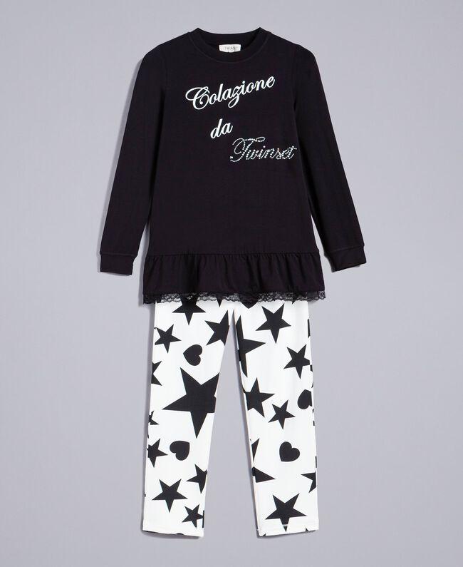 save off eeefc 35ed5 Pyjama aus Jersey mit Sternen und Herzen Kind, Schwarz ...