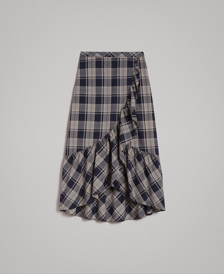 Long check cotton skirt Blue Shadow Check Jacquard Woman 191ST2133-0S