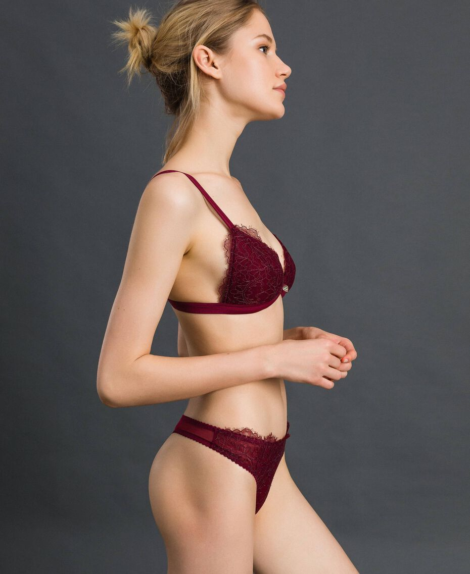 Padded lace triangle bra Purple Red / Lead Grey Woman 192LI6422-02