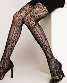 Tights with mixed mesh and lace Black Woman 192TA4329-0S
