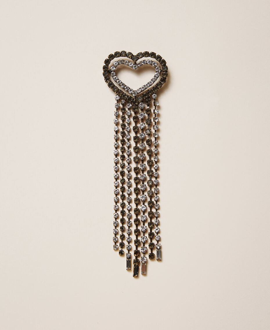 "Brooch with heart and rhinestone fringes ""Crystal"" Silver Multicolour Woman 202TA4307-02"