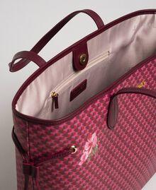 Sac cabas imprimé avec pochette Imprimé Fleurs Papillon Rouge Betterave Femme 192TA7017-05