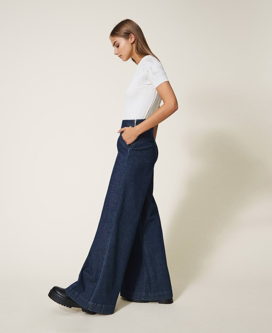Свободные прямые джинсы с карманами Тёмный Деним женщина 202MP222C-01