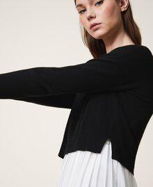 "Slip dress with wool blend jumper Bicolour Black / ""Snow"" White Woman 202TT3052-05"