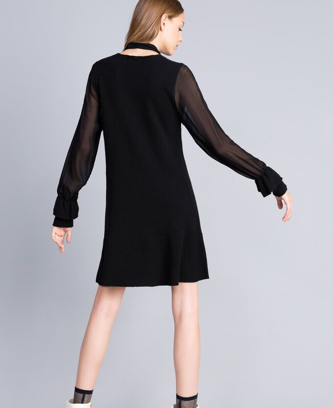 Knitted dress with georgette sleeves Black Woman TA8331-03