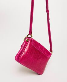 "Small Rebel shoulder bag with croc print ""Black Cherry"" Red Croc Print Woman 201TA7111-04"