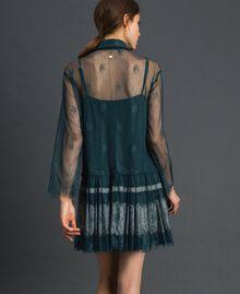 Robe en dentelle de Chantilly avec bas plissé Vert Forêt / Blanc Crème Femme 192ST2110-03