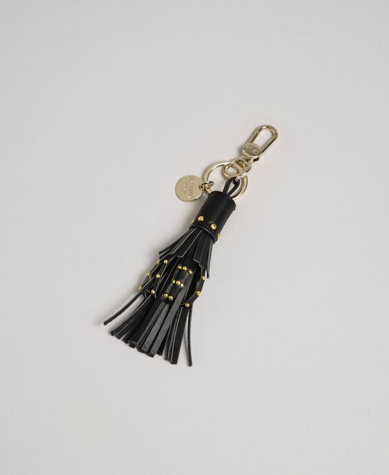 Faux leather keyring with fringes and studs