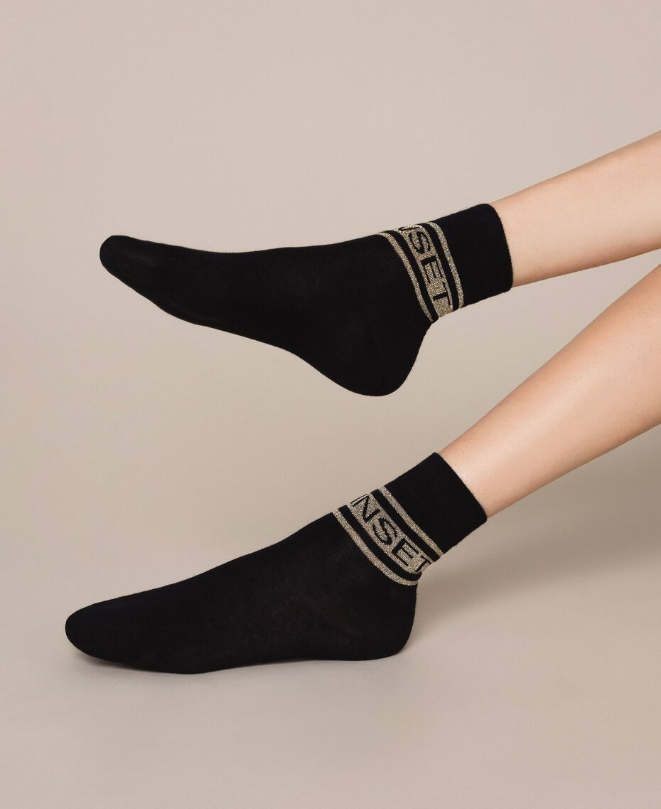 Short socks with jacquard logo Black Woman 201TA4410-0S