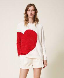 Трикотажная кофта из шенилла со вставкой в виде сердца Слоновая кость женщина 202LL3GTT-02