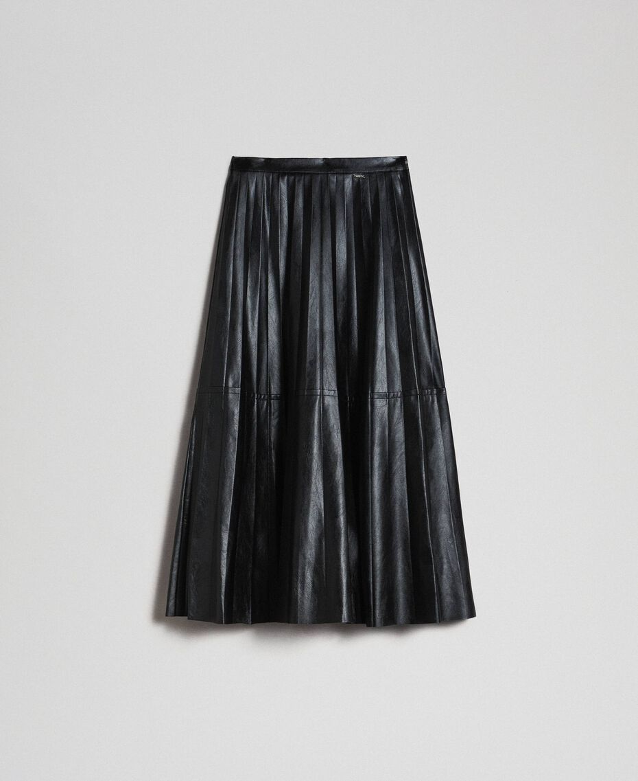 Midirock aus plissiertem Lederimitat Schwarz Frau 192ST2015-0S