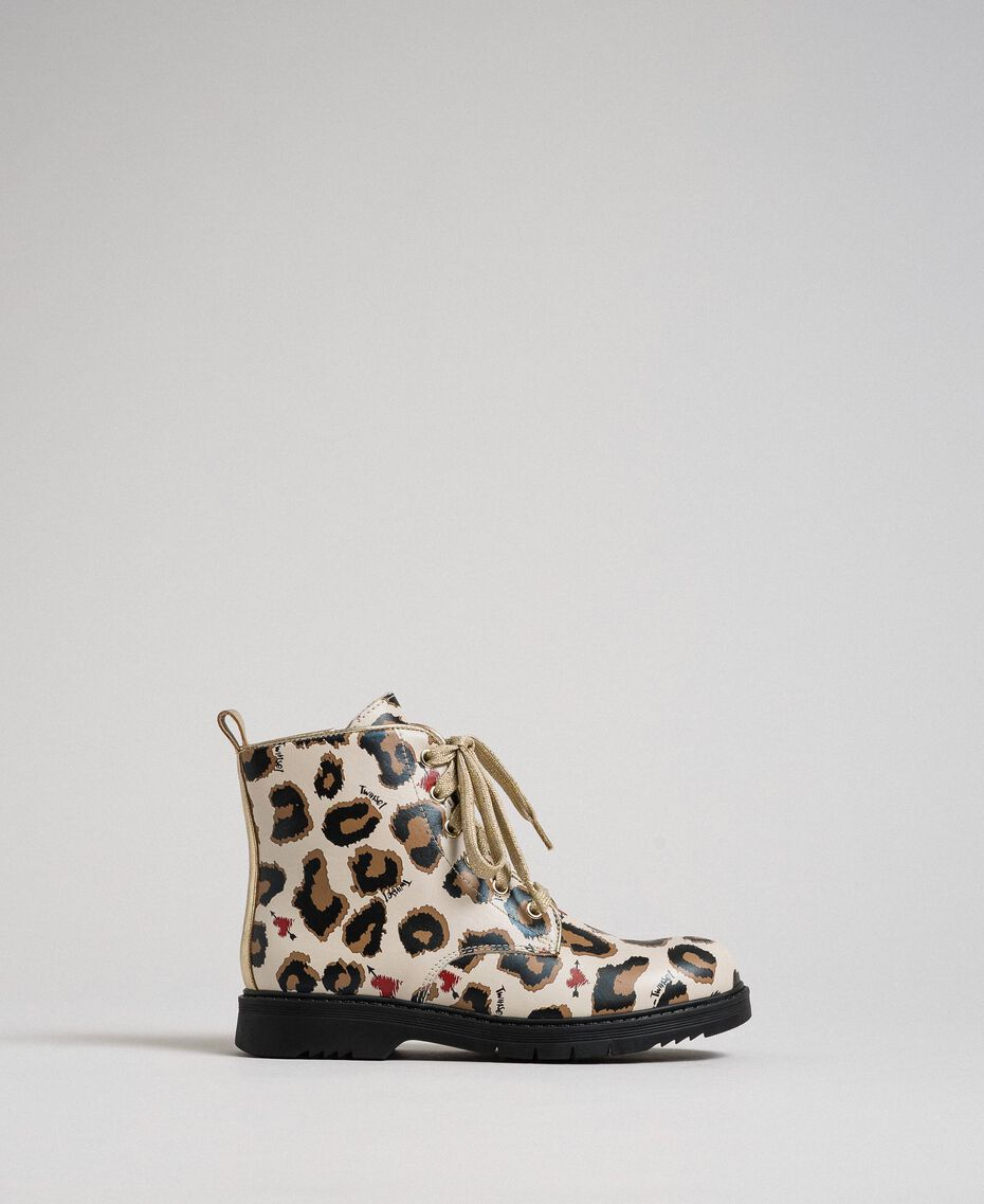 Leather combat boots with animal print Leopard Print Child 192GCJ02E-02