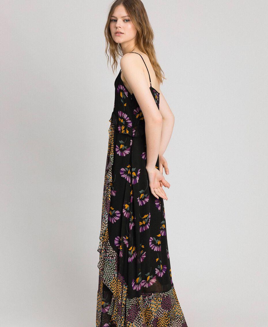Slip dress with floral print Black Mixed Flowers Print Woman 192TT2144-02