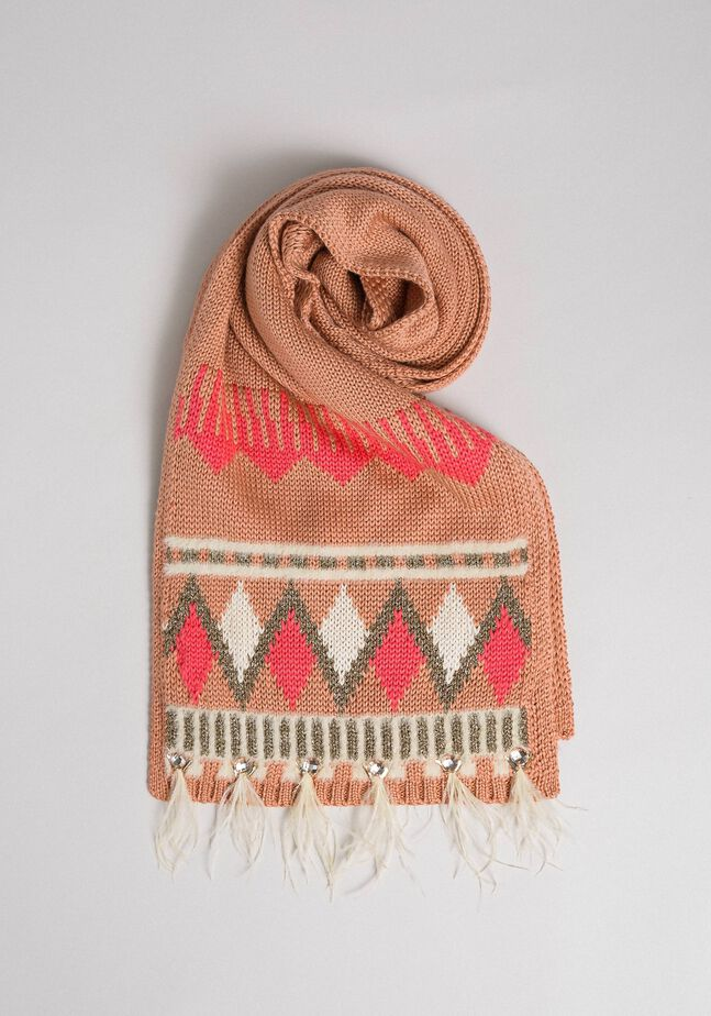 Jacquard knit scarf with bezels and feathers