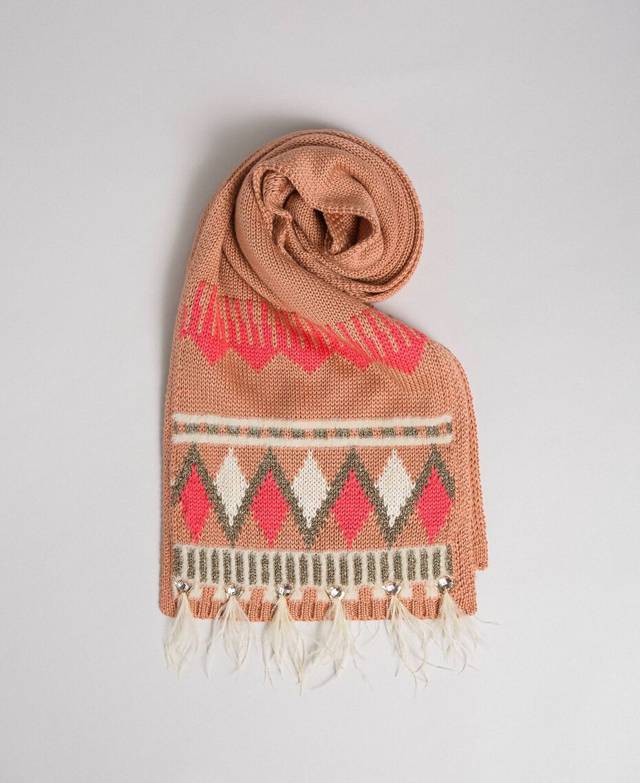 "Jacquard knit scarf with bezels and feathers ""Nude Pink"" Fair Isle Jacquard Woman 192TO537J-01"