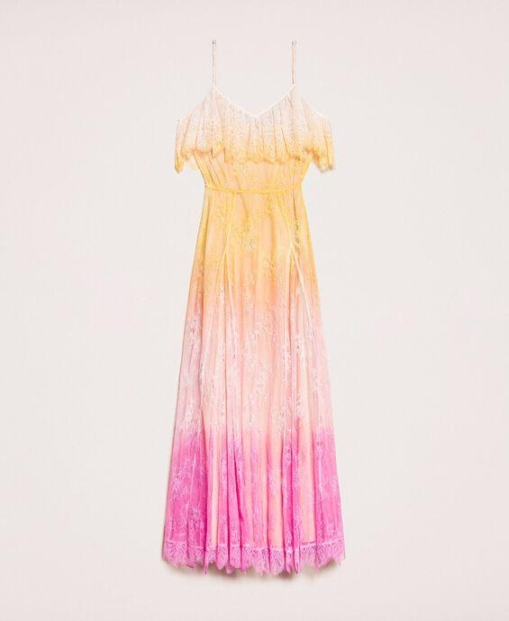 Длинное кружевное платье в технике тай-дай