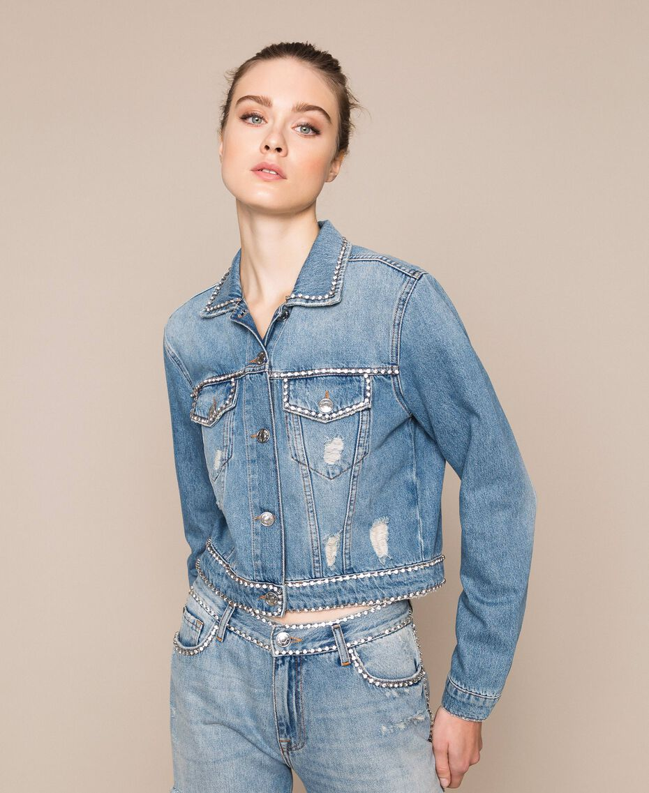 Blouson en jean avec strass Bleu Denim Femme 201MP2271-01