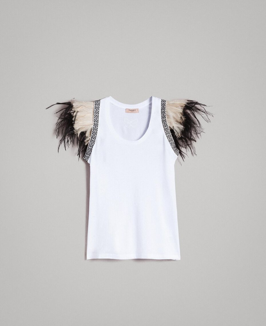 Tank top with removable fadeout feathers White Woman 191TT2205-0S