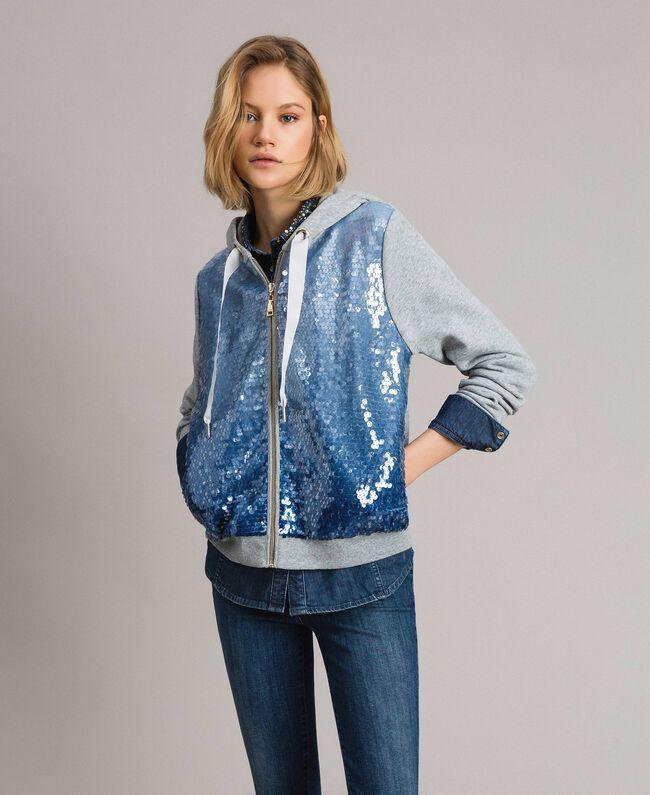 Sweatshirt mit Pailletten im Farbverlauf Zweifarbig Melange Hellgrau / Kornblumenblau Frau 191MP2072-01