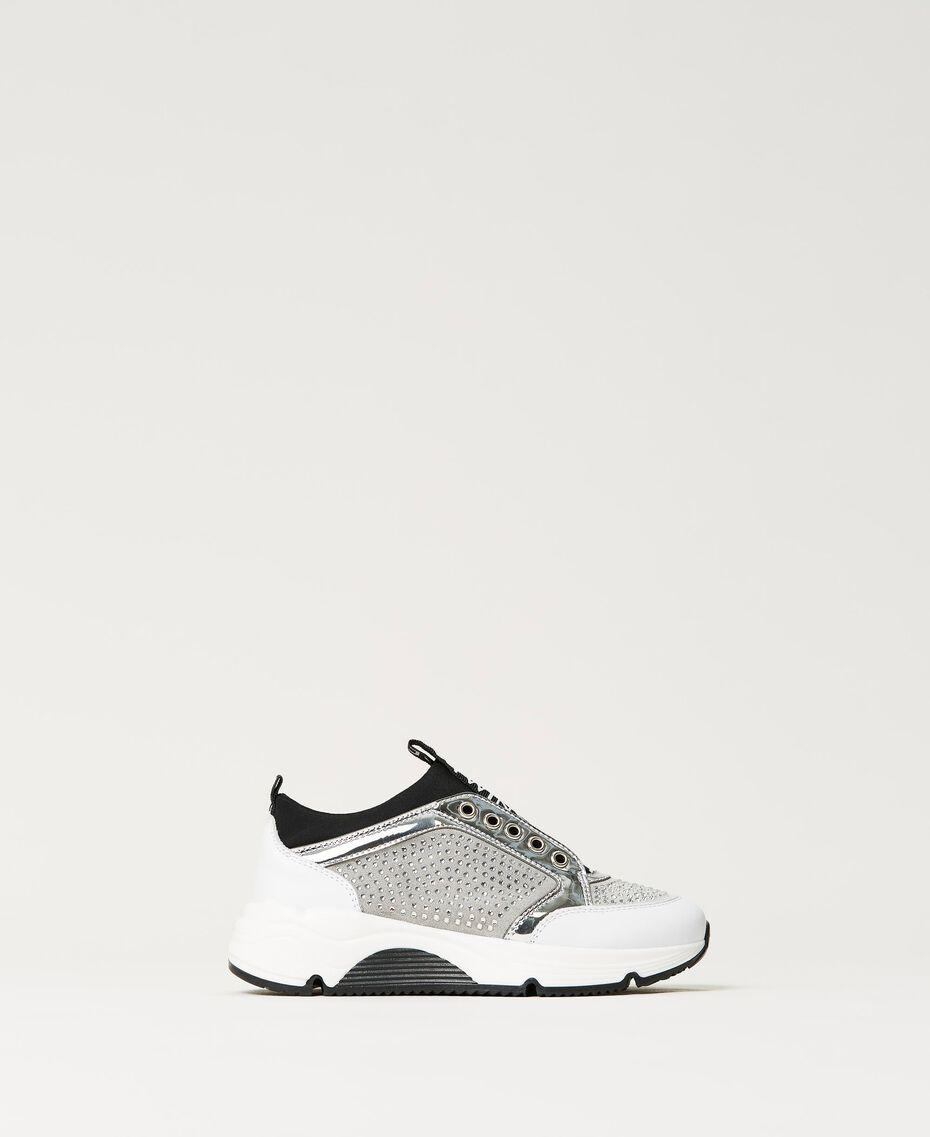 Sneakers de piel con strass Bicolor Blanco «Off White» / Plata Niño 211GCJ020-03