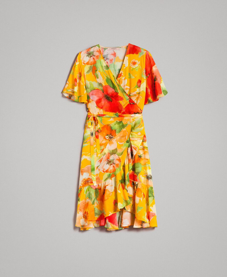 Georgette-Kleid mit Blumenmuster Motiv Gelbe Macro Blumen Frau 191TT2482-0S