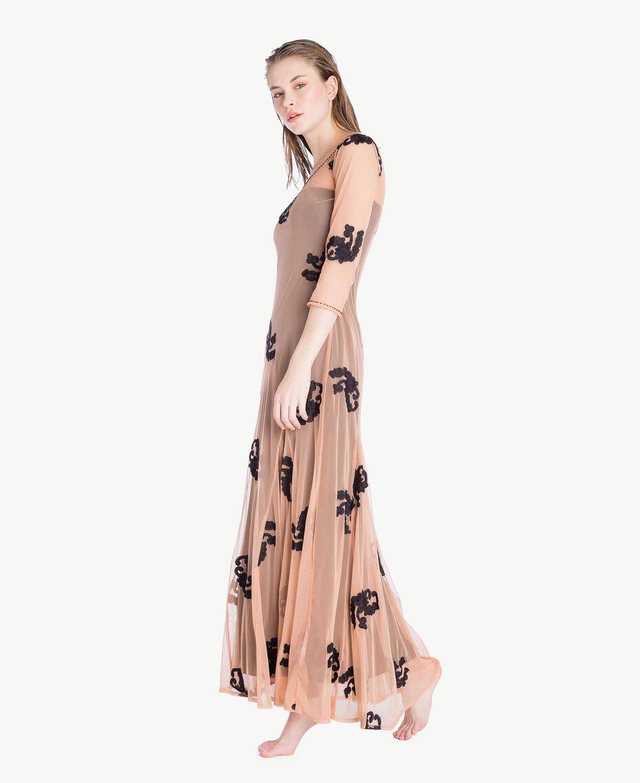 Long embroidered dress Black Woman MS8BJJ-03