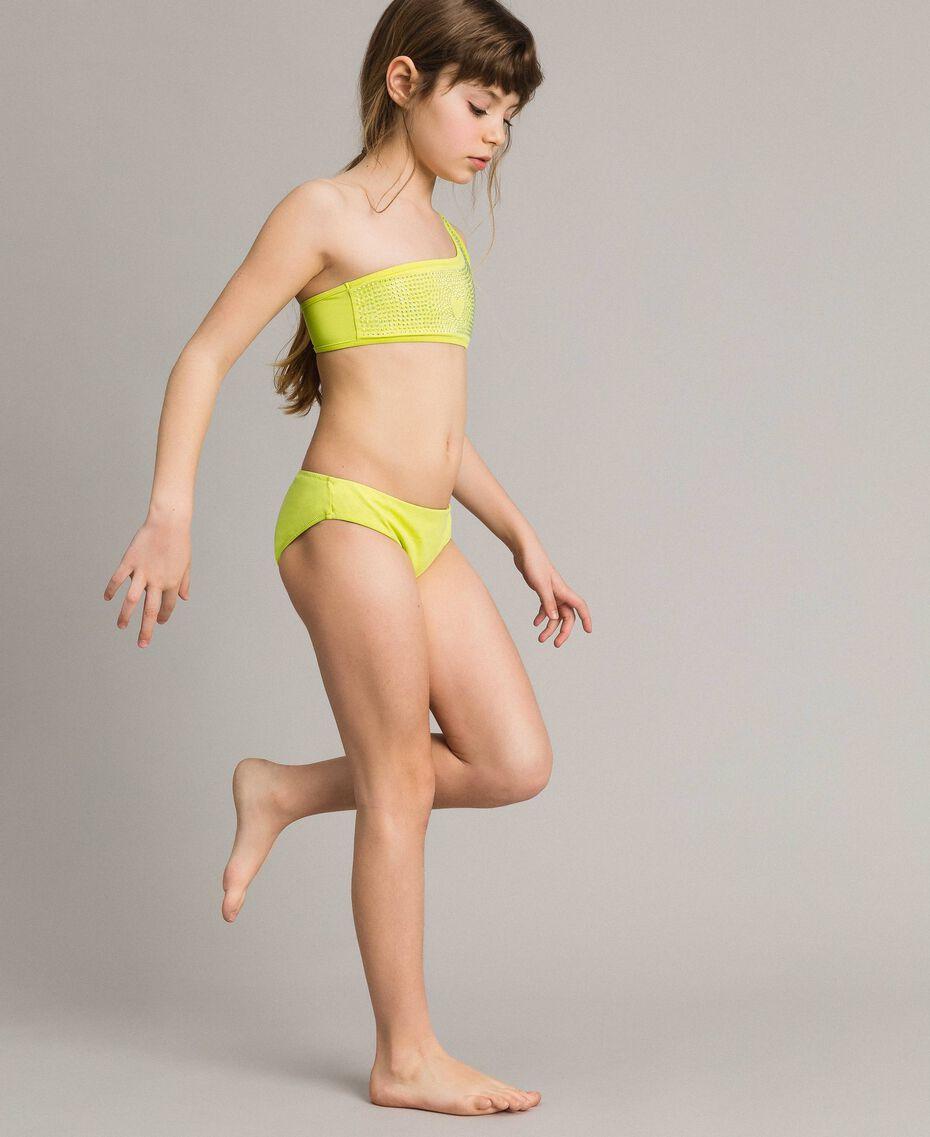 """Bikini de un solo hombro con diamantes de imitación Amarillo """"Bambú"""" Niño 191GJM905-0S"""