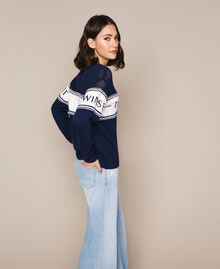 """Jumper with plush and logo inlay Two-tone Night Blue / """"Snow"""" White Woman 201TP3201-03"""