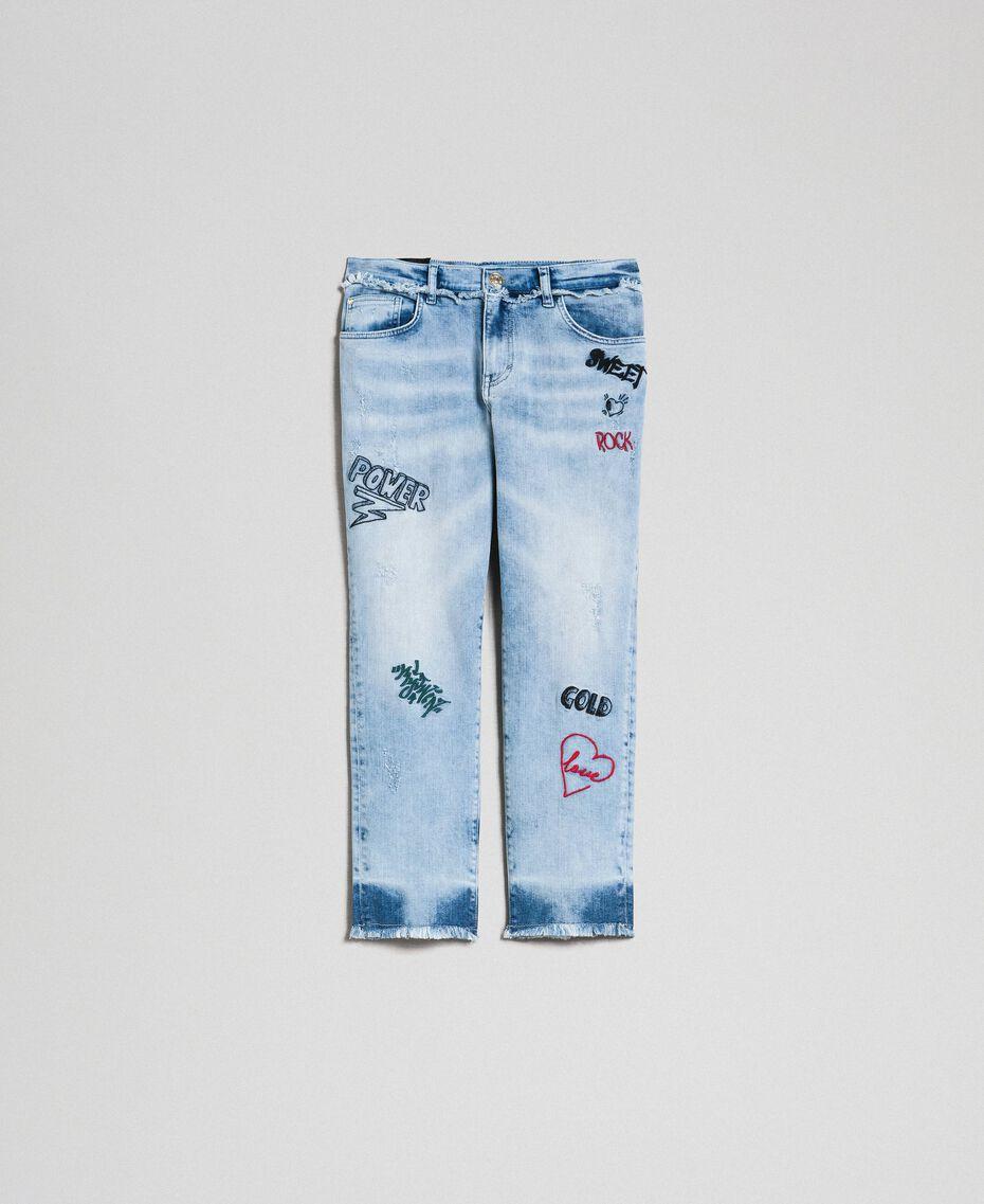 Jean cinq poches avec broderies Bleu Denim Femme 192MP2190-0S