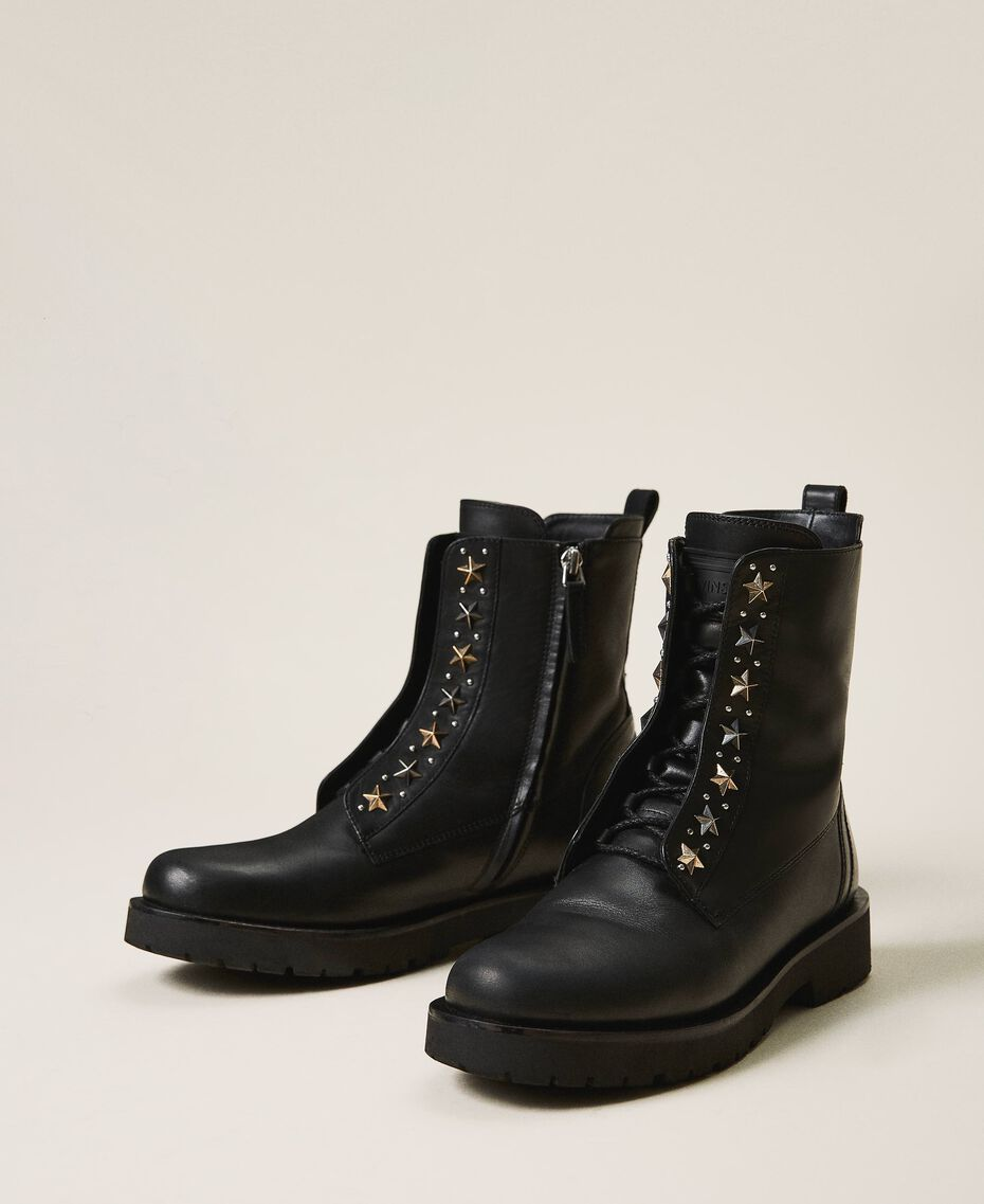 Leather combat boots with studs Black Woman 202TCP146-01